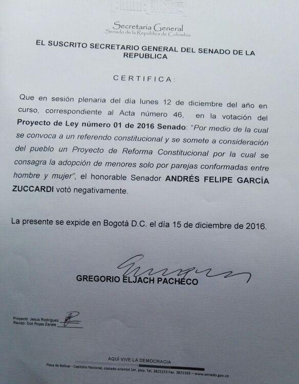 Certificación Votación de Andrés García