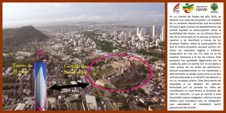 A pesar de advertencias, construyen torres de 30 pisos a 200 metros del Castillo San Felipe
