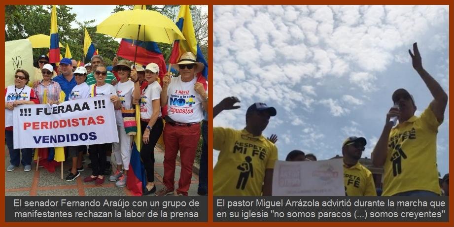 En Cartagena la marcha fue contra Santos, contra la corrupción y hasta contra la prensa