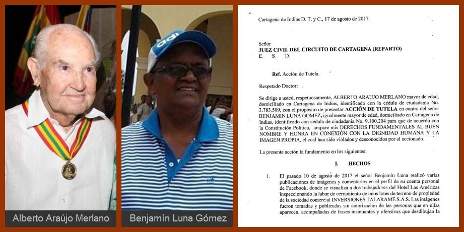Alberto Araújo instaura tutela contra Benjamín Luna para que «se ampare su buen nombre»