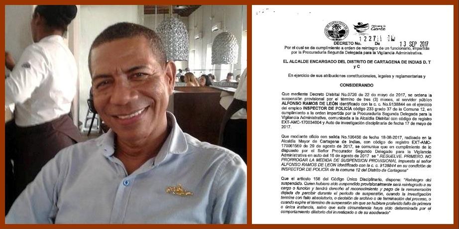 Reintegrado inspector de la Comuna 12 luego de que la PGN no prorrogara su suspensión
