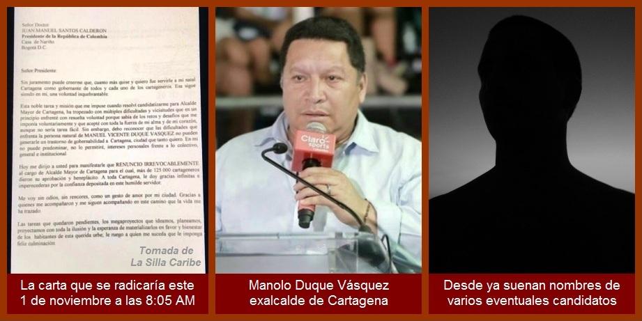 Tras renuncia de Manolo Duque, comienza puja por la Alcaldía de Cartagena