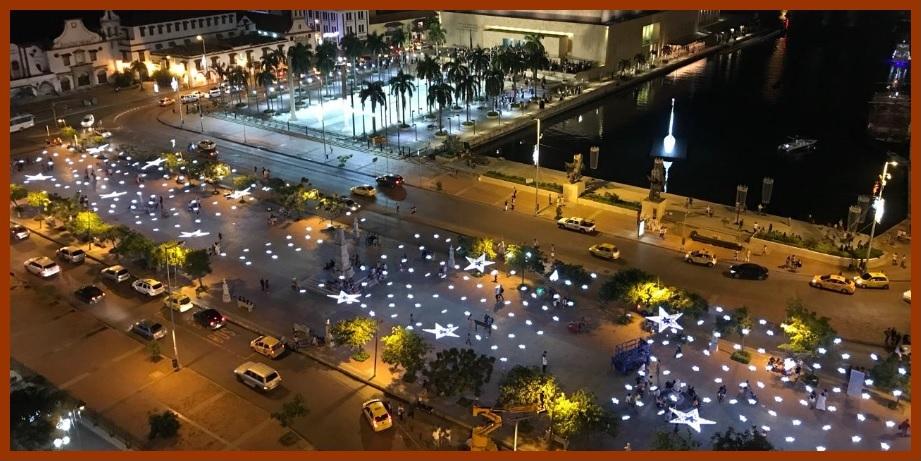 El Parque Espíritu del Manglar y el Centro de Cartagena, radiantes con sus luces navideñas