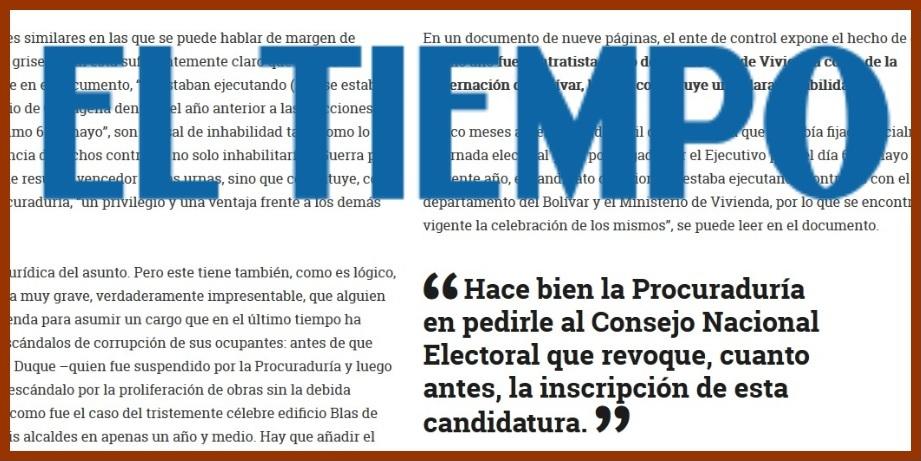 Por inhabilidad de Quinto, El Tiempo pide al CNE atender solicitud de la Procuraduría