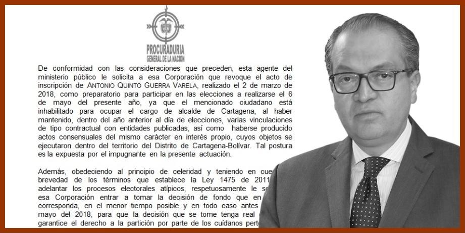 «Quinto sí está inhabilitado para ocupar el cargo de alcalde de Cartagena»: Procuraduría