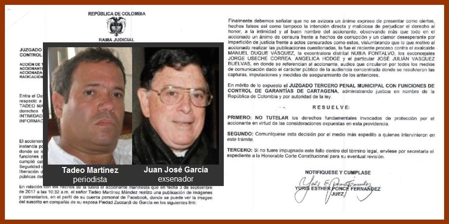 «Si algo usted no tiene es buen nombre o prestigio»: Tadeo Martínez a Juan José García