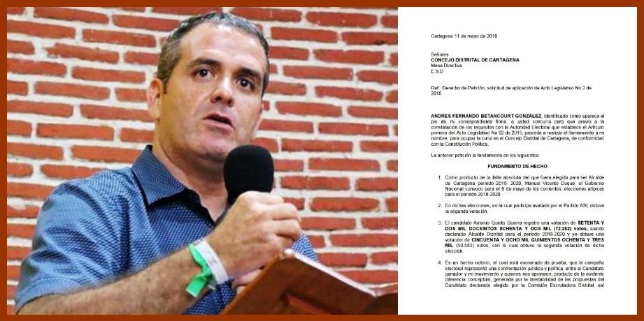 Betancourt reclama curul en el Concejo para «ejercer el derecho a la oposición»