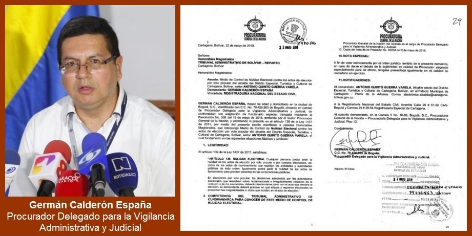 Procuraduría pide suspender provisionalmente elección de Quinto como alcalde de Cartagena