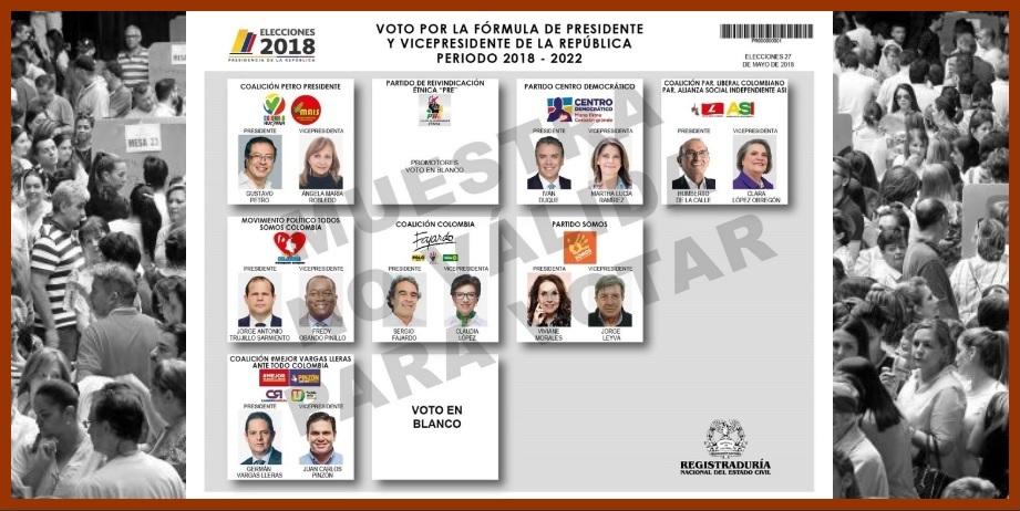 Estas son las opciones que tendrán los colombianos al acercarse hoy a las urnas
