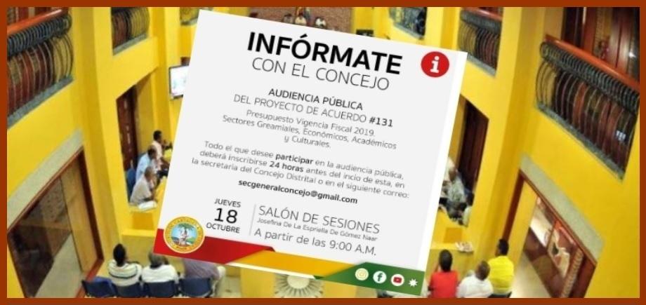 Gremios de Cartagena, ausentes en audiencia para estudiar el Presupuesto del 2019
