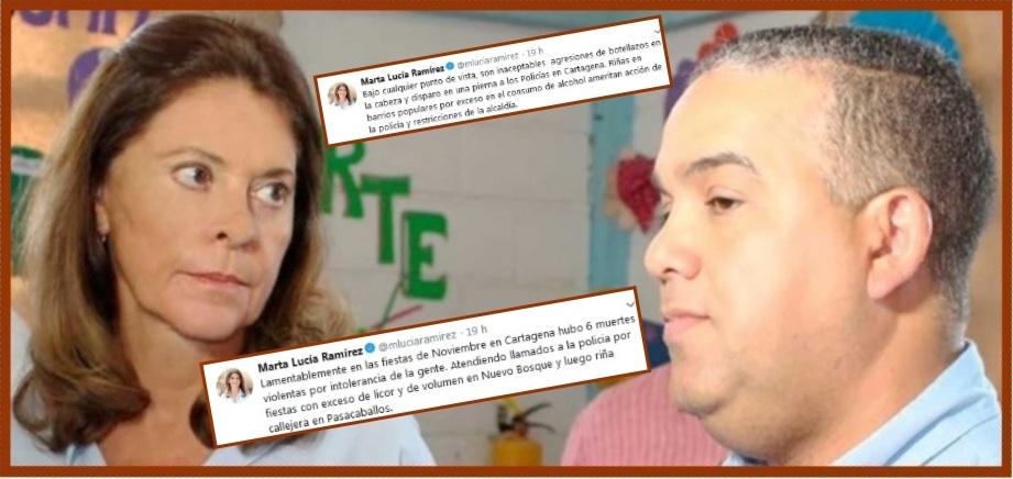 Los trinos de la vicepresidente Ramírez… y la respuesta del alcalde Pereira