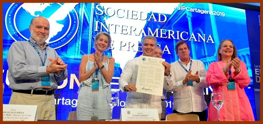Durante reunión de la SIP, presidente Duque ratifica compromiso con la libertad de prensa