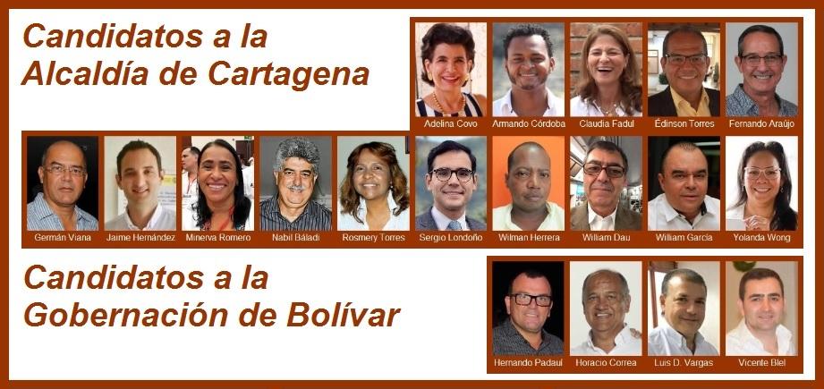 Breve perfil de los candidatos a la Alcaldía de Cartagena y a la Gobernación de Bolívar