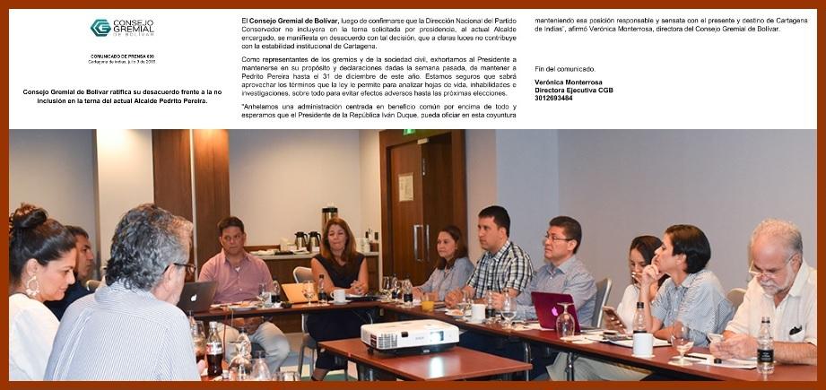 Intergremial de Bolívar, en total desacuerdo con terna integrada por el Conservatismo