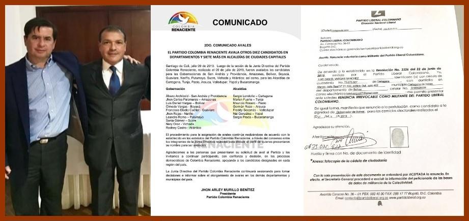 Luis Daniel Vargas, ¿avalado por Colombia Renaciente cuando aún era liberal?