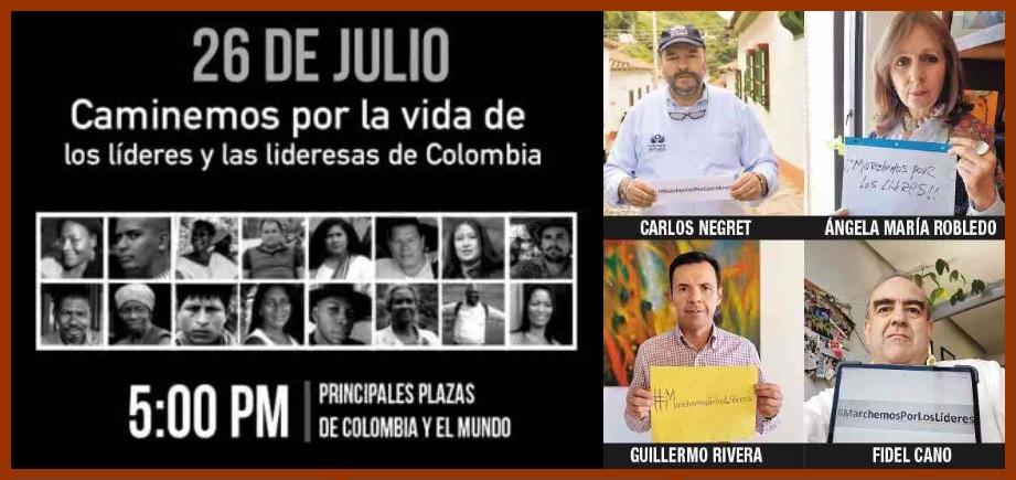 En Cartagena, como en todo el país, se marchará por la vida de los líderes sociales