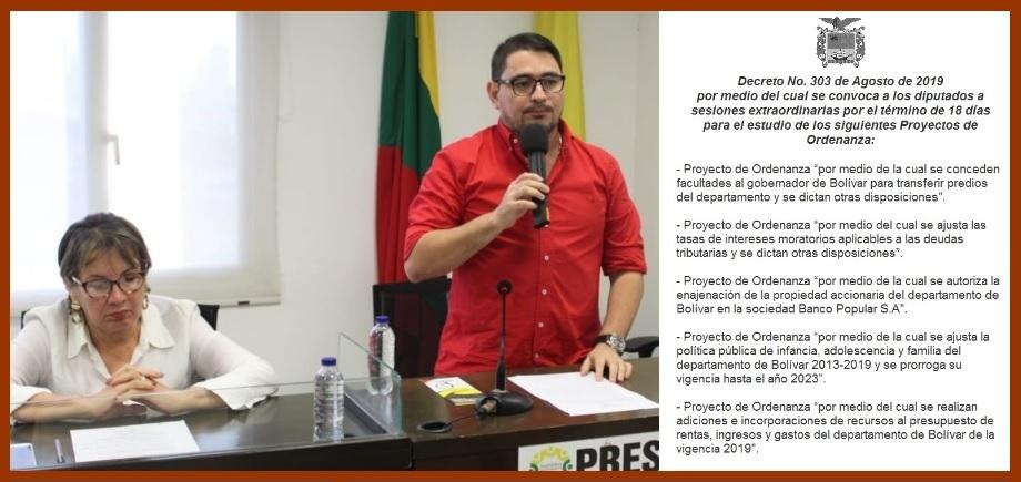 Diputados de Bolívar, a estudiar durante 18 días  cinco Proyectos de Ordenanza