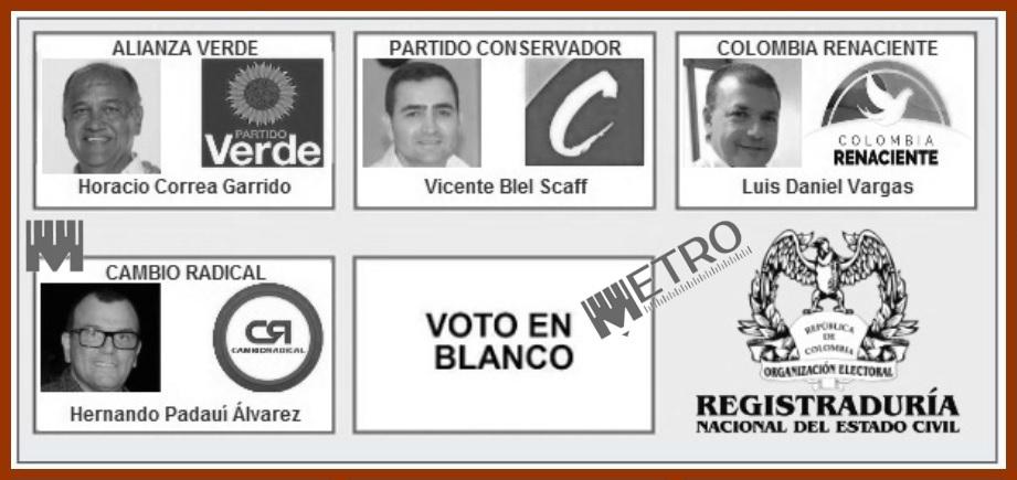 Tras sortearse el orden de los aspirantes, así será el tarjetón de la Gobernación de Bolívar