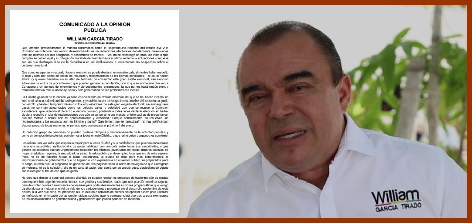 García Tirado explica por qué no aceptó la curul del Concejo a la que tiene derecho