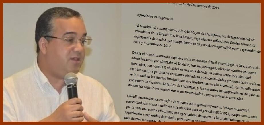 Carta del saliente alcalde de Cartagena, Pedrito Pereira, a todos los cartageneros