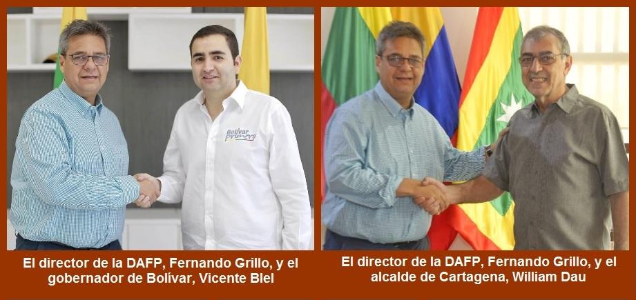 Gobernación de Bolívar y Distrito de Cartagena firman sendos convenios con el Dafp