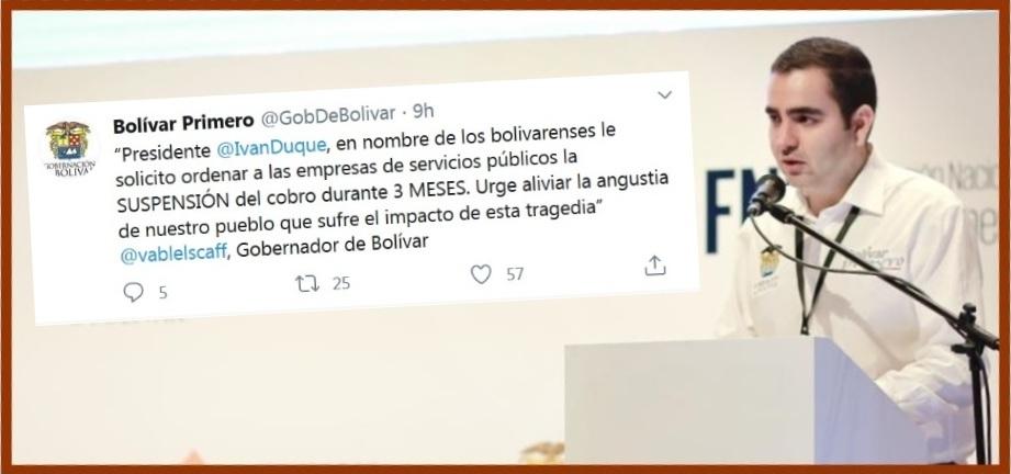 Gobernador pide suspender durante tres meses cobro de servicios públicos en Bolívar