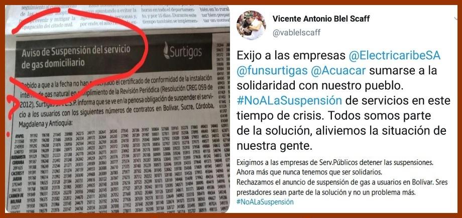 Detener las suspensiones pide el gobernador de Bolívar a empresas de servicios públicos