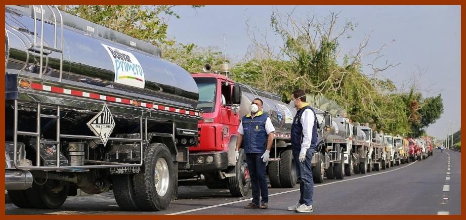 Gobernación manda 43 carrotanques con dos millones de litros de agua a los municipios