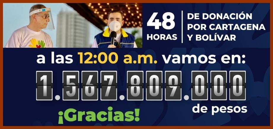 Así va la donatón por Cartagena y Bolívar: ayer se recaudaron $1.567'809.000…