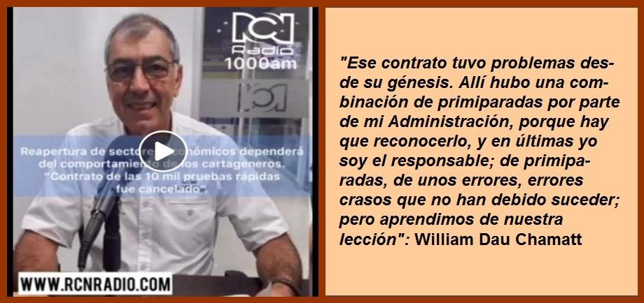 «Errores en contrato de pruebas rápidas fueron unas primiparadas»: William Dau
