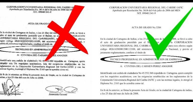 Contra indeterminados, la denuncia del Iafic por adulteración del Acta de Grado No. 3204