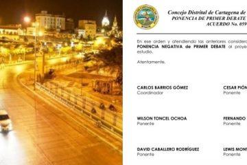 Proyecto para contratar el Alumbrado Público de Cartagena, con ponencia negativa