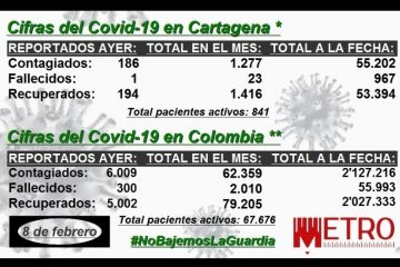 Para el análisis: conozca las cifras del Covid-19 en la primera semana de febrero