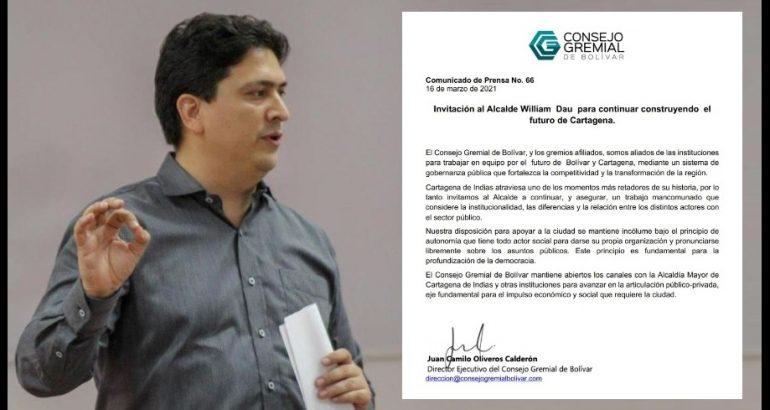 Consejo Gremial de Bolívar invita a Dau a seguir «construyendo el futuro de Cartagena»