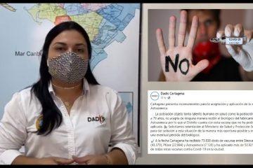 «Bajo porcentaje de vacunación en Cartagena es por inconvenientes con la vacuna de AztraZeneca»: Dadis